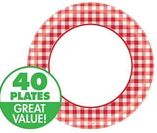 "Picnic Gingham Round Dessert Plates, 6 3/4"" - 40ct"