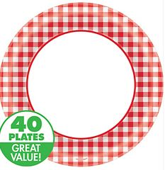 "Picnic Party Red Gingham Dinner Plates, 10"" - 40ct"