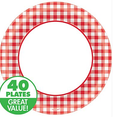 "Picnic Gingham Round Dinner Plates, 10"" - 40ct"
