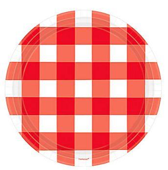"American Summer Red Gingham Dessert Plates, 7"" - 8ct"