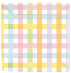 Colorful Gingham Square Dessert Plates