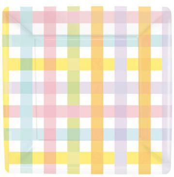 Colorful Gingham Square Dessert Plates