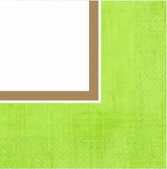 Avocado Green Border Beverage Napkins