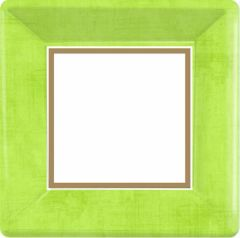 Avocado Green Border Square Plates, 7""
