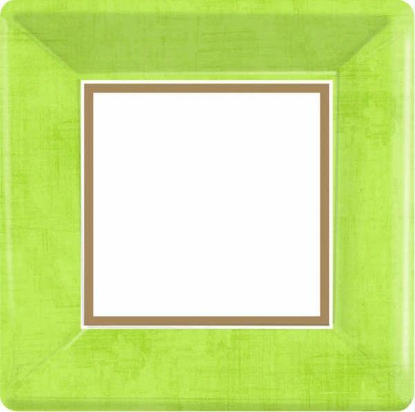 "Avocado Green Border Square Plates, 7"""