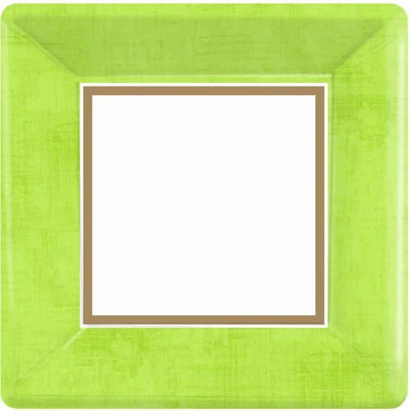 "Avocado Green Border Square Plates, 10"""