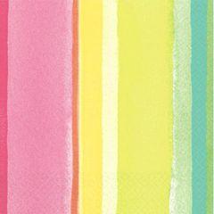 Pink Sunny Stripe Beverage Napkins