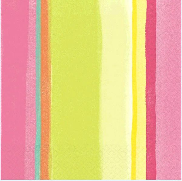 Pink Sunny Stripe Lunch Napkins