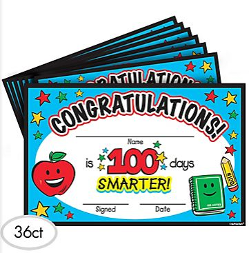 100th Day Of School Certificate Pack, 36 ct.