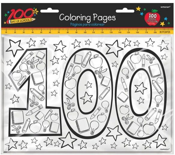 100th Day Of School Coloring Pages, 36ct
