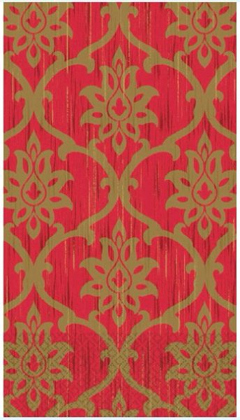 Festive Damask Guest Towels, 16ct
