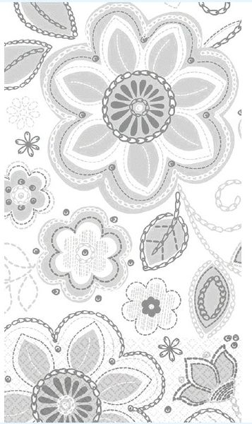 Silver Flower Embroidery Guest Towels, 16ct