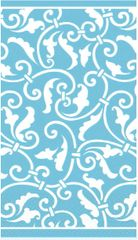 Caribbean Blue Ornamental Scroll Guest Towels