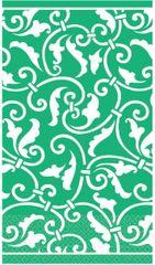 Festive Green Ornamental Scroll Guest Towels
