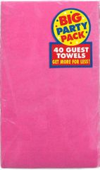 Bright Pink Big Party Pack Guest Towels, 40ct