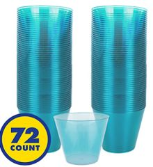 Big Party Pack Caribbean Blue Plastic Cups, 9oz - 72ct