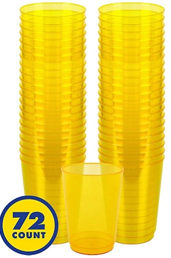 Big Party Pack Sunshine Yellow Plastic Cups, 10OZ - 72ct
