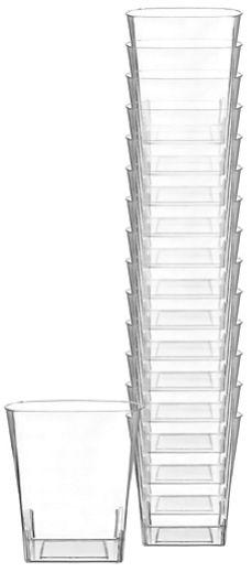 CLEAR Premium Quality Plastic Square Tumblers, 9oz - 14ct