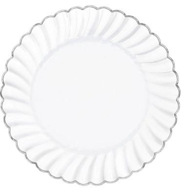 "10 1/4"" Scalloped Plate W/ Metal Trim - White, 10"" - 10ct"