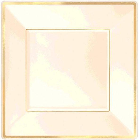 """Square Plastic Plate Cream w/Gold Trim, 10"""" - 8ct"""