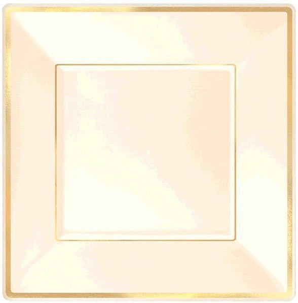 """Square Plastic Plate Cream w/Gold Trim, 7 1/4"""" - 8ct"""