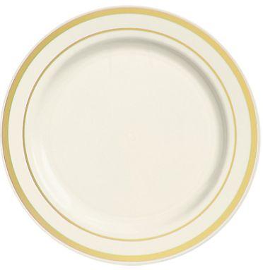 """Cream Premium Plastic Round Dinner Plates with Gold Trim, 10 1/4"""" - 10ct"""