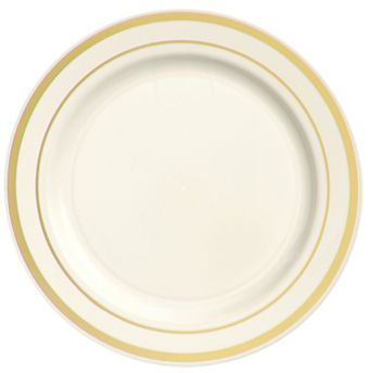 """Cream Premium Plastic Round Lunch Plates with Gold Trim, 7 1/2"""" - 20ct"""