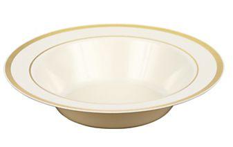 """Cream Premium Plastic Bowls with Gold Trim, 7 1/4"""" - 10ct"""