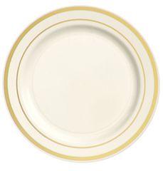 """Cream Premium Plastic Round Appetizer Plates with Gold Trim, 6 1/4"""" - 20ct"""