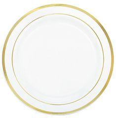 "White Premium Plastic Round Lunch Plates with Gold Trim, 7 1/2"" - 20ct"
