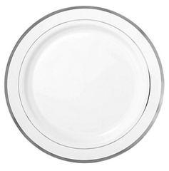 "White Premium Plastic Round Lunch Plates with Silver Trim, 7 1/2"" - 20ct"