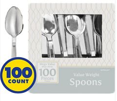 Silver Plastic Spoons 100ct