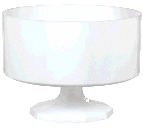 Large White Plastic Trifle Bowl & Pedestal