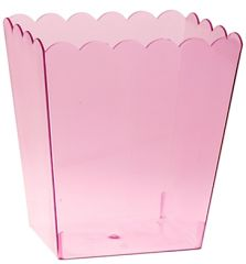 Large Pink Plastic Scalloped Container