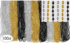 Black, Gold & Silver Bead Necklaces, 100 ct.