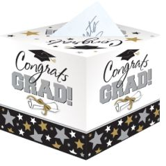 Gold, Silver, Black & White Graduation Card Holder Box