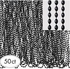 Black Bead Necklaces, 50ct