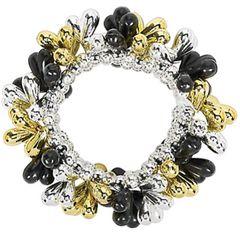 Black, Silver, Gold Bead Bracelet