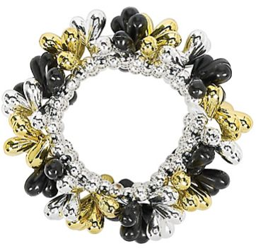 Black, Silver, Gold Drop Bead Bracelet