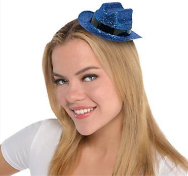 Blue Glitter Mini Cowboy Hat