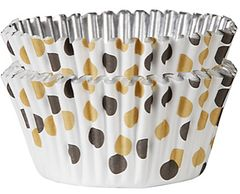 Black & Gold Polka Dot Foil Baking Cups, 48ct
