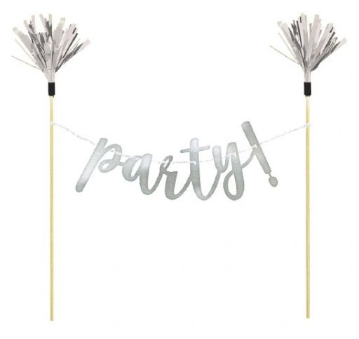 """Party"" Silver Cake Banner"