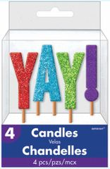 """YAY!"" Glitter Pick Candles"