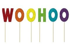 """WOOHOO"" Glitter Cake Picks"