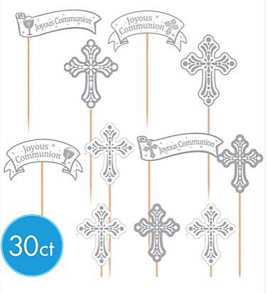 Silver Communion Cupcake Picks, 30ct