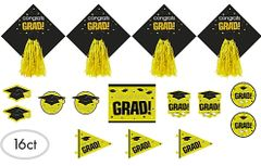 Yellow Graduation Deluxe Cutouts, 16ct