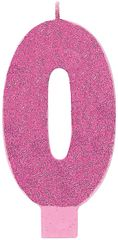 00 Giant Glitter Pink Number 0 Birthday Candle