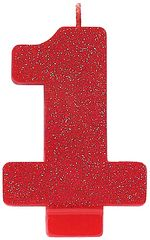 #1 Glitter Red Number 1 Birthday Candle
