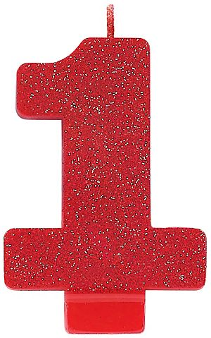 #1 Numeral #1 Glitter Candle - Red