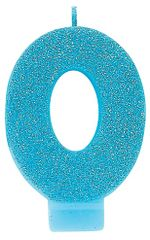 #0 Glitter Caribbean Blue Number 0 Birthday Candle